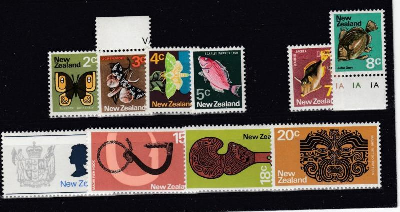 NEW ZEALAND # 534-538,540-546  MNH  VARcts  1973-76 SOME MARGINS CAT VALUE $15