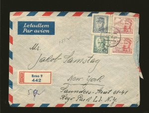 Czechoslovakia C19 Pair & 298 & 300 PM 1948 Registered Airmail Cover to USA Used