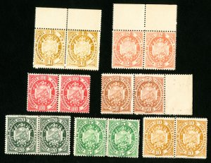 Bolivia Stamps # 40-6 VF Cardboard Proof Pairs