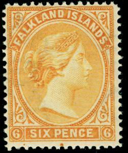 FALKLAND ISLANDS SG34, 6d yellow, LH MINT. Cat £55.