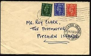 PITCAIRN 1951 incoming cover from GB with arrival cds