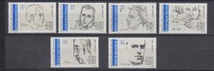 J29299, 1991 france set mnh #b628-33 poets