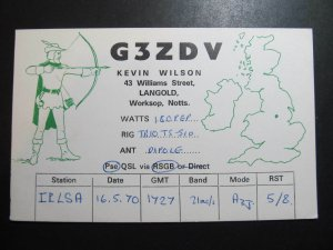 9817 Amateur Radio QSL Card LANGOLD ENGLAND