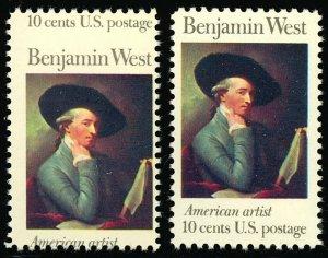 1553 Misperforated ERROR stamp - 15¢ Benjamin West - Mint NH Stuart Katz