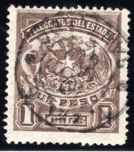 Chile, H4,Type 1, 1P deep brown, Used Telegraph / Telegrafos
