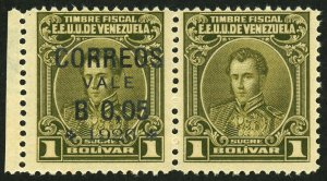 VENEZUELA #287b Missing Overprint Surcharge Latin America Postage 1926 MNH OG