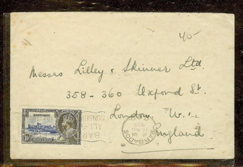 BARBADOS (P2110B)  SILVER JUBILEE 1 1/2D SINGLE FRANK TO ENGLAND