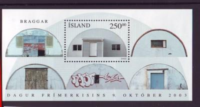 Iceland Sc 1000 2003 Quonset Hut Stamp Day stamp sheet mint NH