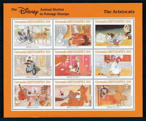 [107494] Grenada Grenadines 1988 Disney The Aristocats cats pets Sheet MNH