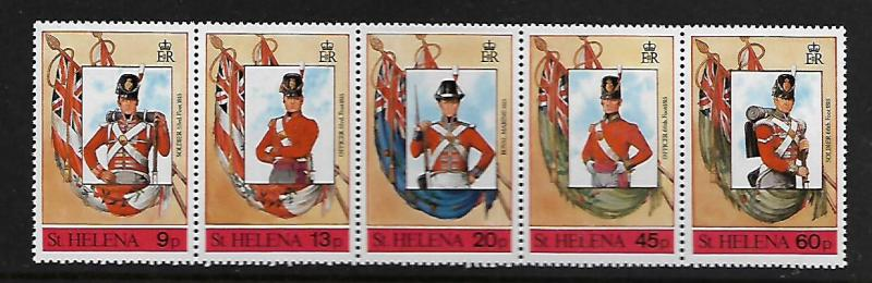 ST HELENA 509 STRIP OF 5 MNH FLAGS AND MILITARY UNIFORMS 1989