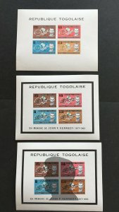 1963-4 Togo 3 souvenir sheets of 4, Emancipation and JFK Memorial MNH, Sc# C35a
