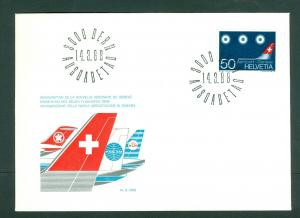 Switzerland. Flight Cover 1968. Geneve Airport Terminal. Sc# 490.