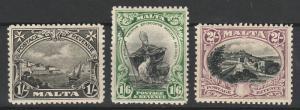 MALTA 1930 PICTORIAL 1/- 1/6 AND 2/- INSCRIBED POSTAGE & REVENUE