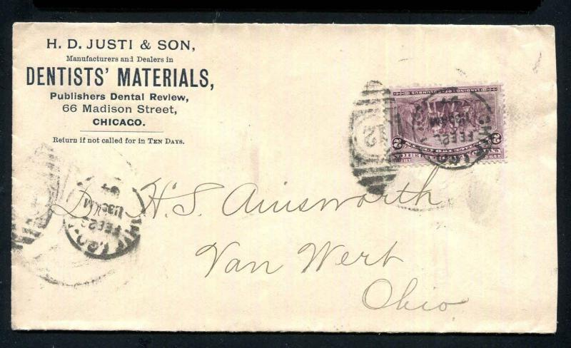 1894 #231 Columbian, H.D. Sons Dentists Materials Advertising, Chicago - Ohio VF