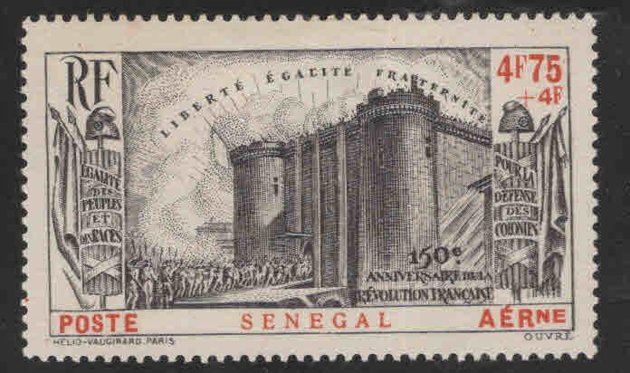 Senegal Scott CB1 French Revolution MH* 1939 semi-postal CV$14