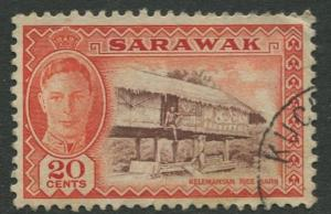 Sarawak -Scott 189 - KGVI Definitives - 1950 - VFU - Single 20c Stamp