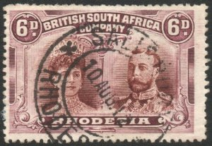 RHODESIA-1910-13 6d Brown & Purple Sg 145 AVERAGE USED V43862