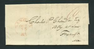 UNITED STATES BANGOR ME.1839  RED CANEL STAMPLESS  COVER WITH  BOND LETTER
