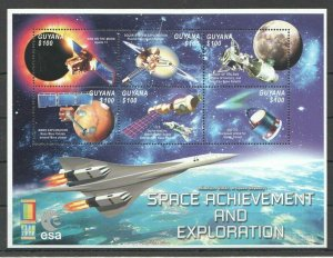 PK246 2000 GUYANA SPACE ACHIEVEMENT & EXPLORATION STAMP EXPO KB MNH STAMPS