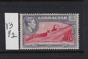 GIBRALTAR SCOTT #113B 1938-49 GEORGE VI- 6D (VIOLET/ROSE)-PERF 13 1/2- MINT LH