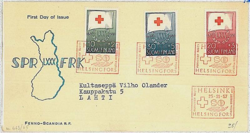 MEDICINE \ RED CROSS : FINLAND -  POSTAL HISTORY-  FDC COVER : 1957