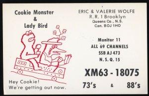 QSL QSO RADIO CARD  Cookie Monster/Lady Bird, Nova Scotia Canada (Q526)