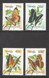 South Africa Venda Sc# 217-220 Used 1990 Butterflies