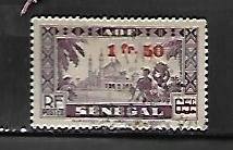 FRENCH WEST AFRICA, 1, USED, SENEGAL SURCHD