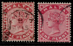 MALTA QV SG21 + 22, 1d, FINE USED. Cat £26.