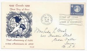 Canada FDC 1959 10th Anniversary NATO First Day Cover
