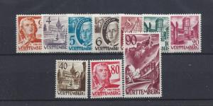 Germany (Wurttemberg), 8N28-8N37, Occupation Stamps Singles, **MNH**, (LL2019)