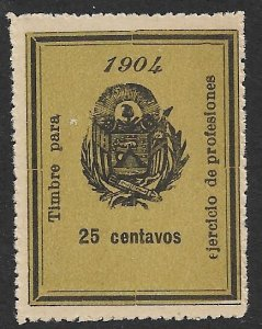 EL SALVADOR 1904 25c ARMS Professional Licenses Fee Revenue Ross 122 MNGAI
