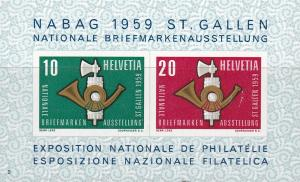 Switzerland 1959 NABAG Stamp Show Souvenir Sheet. XF/Never Hinged/(**)