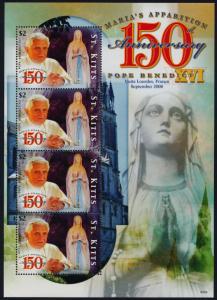 St Kitts 717 MNH Pope Benedict XVI, Visit to Lourdes