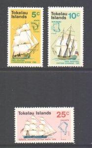 Tokelau Scott 22/24 - SG22/24, 1970 Discovery of Tokelau Set MNH**