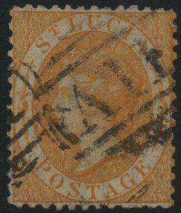 ST LUCIA-1864-76 4d Yellow Sg 12 GOOD USED V40015
