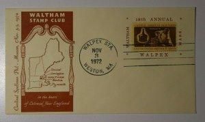 WALPEX Colonial New England Weston MA 1972 Philatelic Expo Cachet Cover
