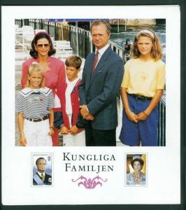Sweden Folder 1993  6 Pages. The Royal Family MNH. Complete Set + 25 Kr. 1991