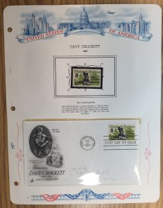 #1330 Davy Crockett FDC and MNH Single in mount on souvenir page