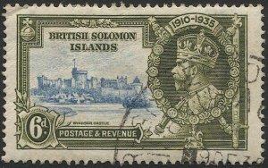BRITISH SOLOMON ISLANDS 1935  6d KGV  Sc 62 Used VF, Silver Jubilee