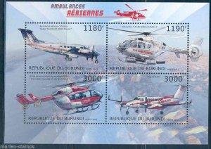 Burundi MNH S/S Helicopter Ambulances 2012 4 Stamps