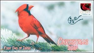CA17-046, 2017, Christmas, Cardinal, Day of Issue, FDC
