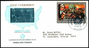 Comoro Island 168 US Bicentennial Typed FDC