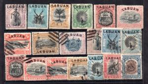 Labuan 1894-1903 collection x 19 values WS11705