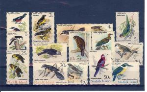 Norfolk Islands, 126-40, Birds Definitive Singles, **MNH**