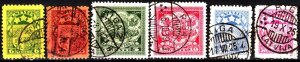 LATVIA 1925-26 Definitive: Heraldry. Val in Lats, compl 6v. Mi.103-6 112-13 Used