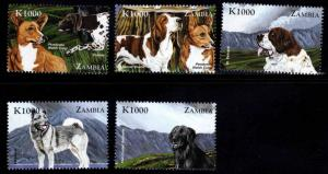 Zambia Scott 809a-e MNH** 1999 Dog stamps