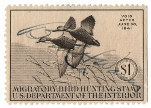 (I.B) US Revenue : Duck Hunting Stamp $1 (1940)