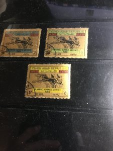 YEMEN #C33T-V CTO Set of 3 Cat. $6. 1968 Olympics With O.G. VF-NH