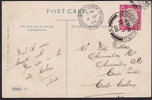 TRANSVAAL 1905 postcard (Commissioner St) to Cape Town - OBSERVATORY ROAD...7582